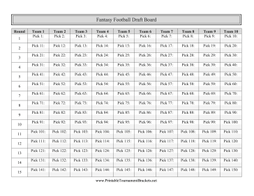Irresistible image within printable fantasy football draft board